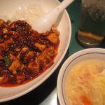 陳麻婆豆腐 - スープ、ジンジャエール、麻婆丼
