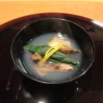 32416759 - 蝦夷鮑、焼舞茸、ほうれん草のお椀