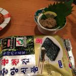 32417042 - カニ味噌(400円)と韓国海苔(10円)