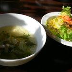 琥珀館 - ランチスープとサラダ