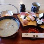 海舟寿し - 味噌汁昼定食、おまかせ寿し 1000円