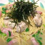 トラットリア カロ - 広島産かきとベーコン・九条ねぎの和風スパゲティ