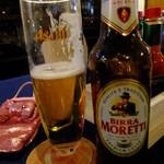 ハングリータイガー - スーパードライ生ビール:480円+モレッティ(イタリアビール):570円