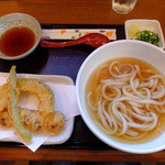 かみもっちうどん - かけ(小)、天ぷら2種盛り合わせ