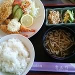 登正門 - 2014.11エビフライ+白身魚フライ定食(700円)