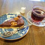 すみだ珈琲 - チョコレートのタルト(380円)と本日のコーヒー パナマゲイシャ(540円)