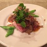 32463497 - 吟醸松阪豚フィレ肉とフォアグラのソテー秋トリフのソース ロッシーニ風