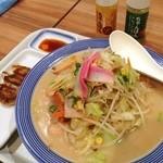 リンガーハット - 野菜タップリちゃんぽん。ショウガと柚子胡椒ドレッシングが付いてきた。なかなか乙でした(^^)