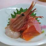 八ヶ岳グレイスホテル - 料理写真:お造り (信州サーモン、甘海老、鮪) (2014/11)