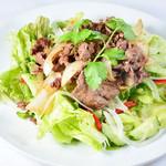 牛肉炒めかけ野菜サラダ