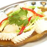 イカの葱と生姜蒸し