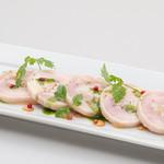 大山地鶏のファグラロール ~自家製海老マヨと香草オイル~