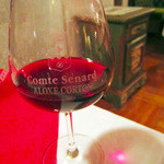 レストラン クララ - (2014.10月)コートデュローヌのComte Senard Aloxe Cortonのグラス。半分
