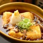 うるる - とろろ豆腐の揚げ出し-きのこ餡掛け