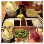 新宿 立吉 - お野菜とソースのセット。野菜は追加できますが、料金が加算されるかは不明。多分無料だと思いますけれど。