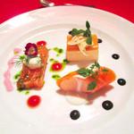 レストラン クララ - 自家製スモークサーモンのテリーヌ、サーモンムースサーモン巻、ういきょうのババロア(2014.10月)