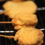 串カツ ゑびす - 茄子はさみ揚げ、玉葱、じゃが芋、白ネギ