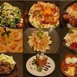 笑食間かかし亭 - 料理写真:シーザーサラダ、山芋鉄板、焼き鳥、海老クリームマヨ、地鶏たたき、地鶏炭火焼、ハニートースト、お子様ランチ