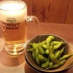 幸せになる居酒屋 まる - 580円セットの一部(生ビール小と枝豆)