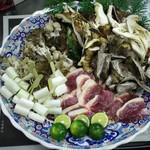 味由貴壮 - 鉄板焼き(鴨と松茸、雑茸の盛り合わせ)