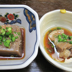 かじか庵 - ゴマ豆腐と豚の角煮。