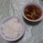 力亭 - 半ライス、スープ
