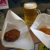 肉の大山 - 料理写真:特製メンチ&ハムカツ&生ビール~☆