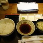 那かむら - 料理写真:ランチセット、ご飯(お替わり可)、みそ汁、お新香、塩抹茶パウダー、塩レモンパウダー、大根おろし
