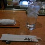 心寿司 - 麦焼酎(いいちこ水割り)