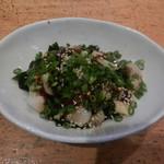 心寿司 - 貝の酢味噌和え(北寄貝・ながらみ・ニシ貝の三種類を酢味噌で和えた一品は酒の肴に相性抜群♪)
