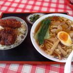 松喜食堂 - ランチAセット[小盛りソースかつ丼とラーメンのセット]¥1050♪