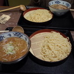 伝丸 - 伝丸 百万遍店の肉つめ麺と濃厚魚介つけ麺(14.11)