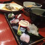 創作割烹 おおた - 本日のお刺身 地魚でんでん 本マグロ 地魚ケサカケ ヤガラ さより スヅキ 地魚ゴソ 以上