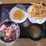 魚彦 - 海鮮丼と野菜のかきあげ