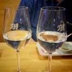 懐石居酒屋 漁火 - 『獺祭』飲み比べ 左が50 (550円)、右が39 (900円)