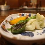 知喜多 - 野菜やき、ししとう、カリフラワー