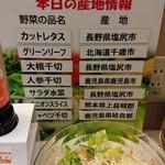 スーパーホテル - サラダの産地表示