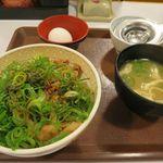 すき家 - ねぎ玉牛丼(並)+みそ汁で税込み496円