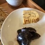 自家焙煎 花の木珈琲店 - 付け合せの卵焼きとしいたけ佃煮