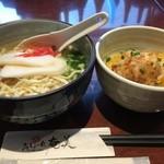 みしょーれ奄美 - ポークピカタ丼セット ここの沖縄そばは五反田で美味しい方だと思う。