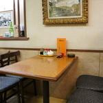 山陽亭 - 座った隣のテーブル席、昭和を感じますが、綺麗にされています