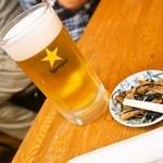 やき鳥 金富士 - 生ビール&付属のおつまみ