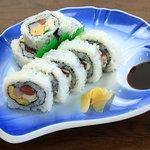 季禅房 - 【文珠巻き】 1,050円 5種類の食材を入れて巻いた女将オススメのお寿司。