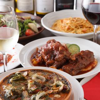 魚介、肉、野菜などこだわり食材をふんだんに使ったお料理