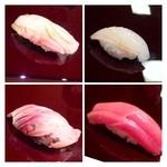 32687850 - ◆鯛・・熟成度もよく美味しい。                       ◆はり烏賊・・甲烏賊のような感じですね、関西ではモンゴ系がよく出されます。                       ◆鯵・・甘くて美味しい。                       ◆中トロ・・普通かしら。