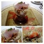 32701796 - 前菜・・明石のもみじ鯛、下には「ナッツ」「大根」「クラゲ」「ピータン」「海老」などが入っています。                       全体を混ぜ合わせていただきますが、サッパリした味わいで美味しいですね。                       食べにくいのが難点かも・