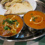 インド・ネパールレストラン マサラ - スペシャル・カレーセット:チキンとトマトのカレー、野菜カレー、チーズ・ナン3