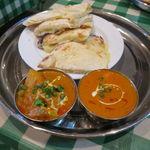 インド・ネパールレストラン マサラ - スペシャル・カレーセット:チキンとトマトのカレー、野菜カレー、チーズ・ナン6