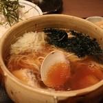 焼きハマグリ新三郎 - 桑名の潮そばと釜揚げしらす丼セット 1200円。