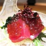 日本料理 幸庵 - ニュージーランドのインド鮪、金瓜、わさび菜、あおさのり、わさび入り醤油ジュレ